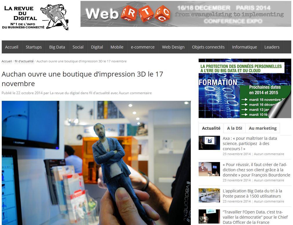 Auchan ouvre une boutique d'impression 3d