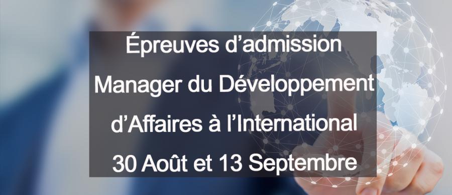Concours 30 août Manager développement affaires à l'international egc lille