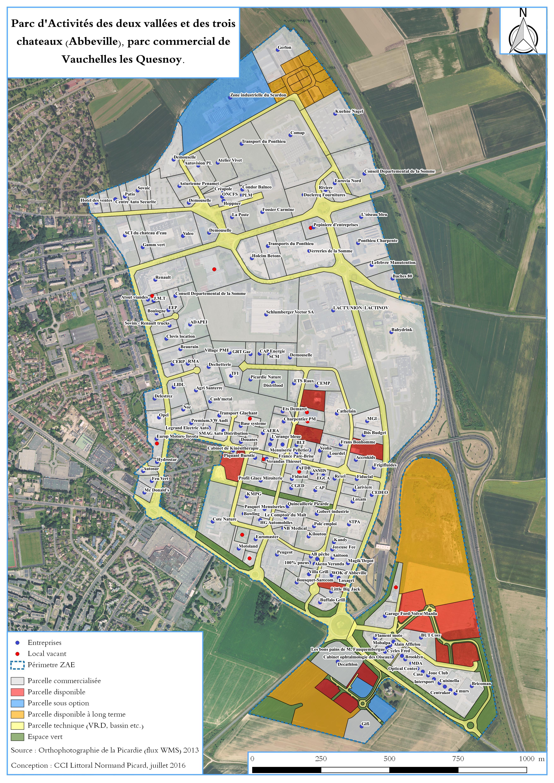 Plan parc d'activités des 2 vallées et des 3 châteaux à Abbeville