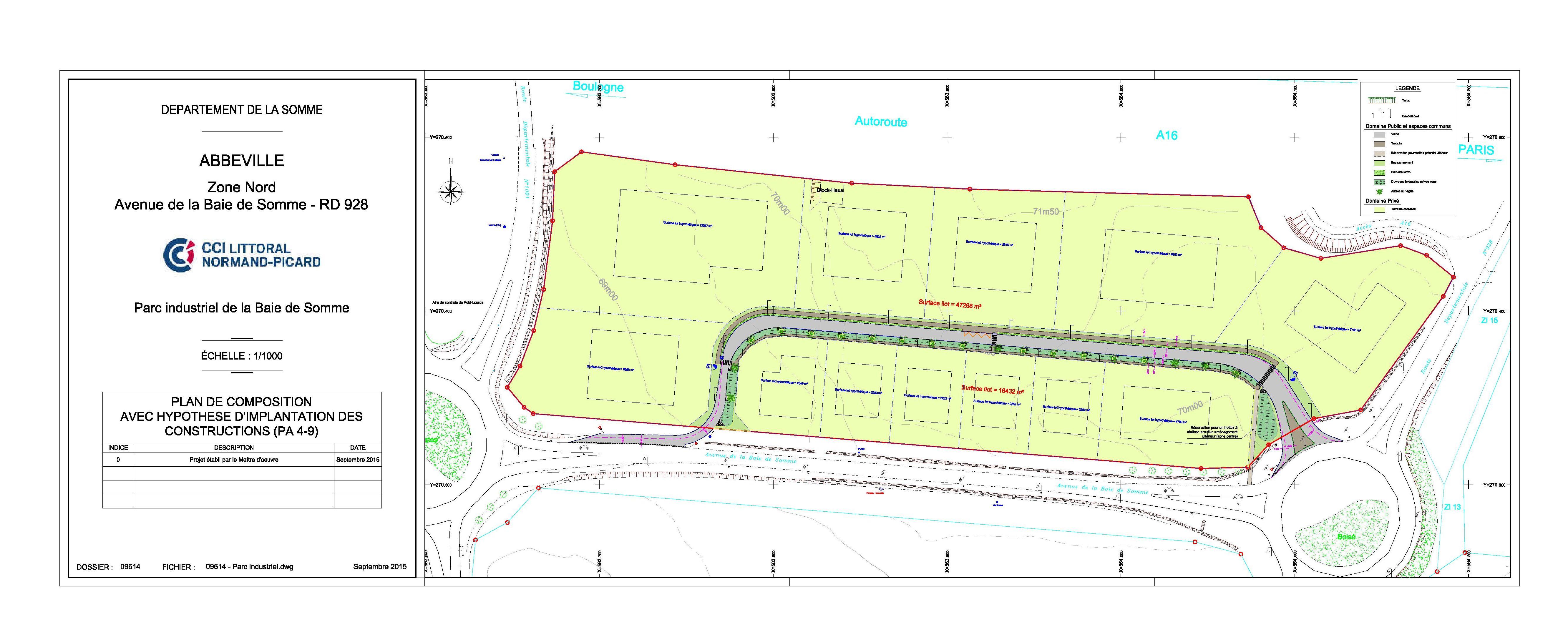 Plan Zone nord du Parc Industriel Baie de Somme